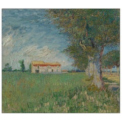 Farmhouse Near Arles, after Impressionist Oil Painting by Vincent van Gogh