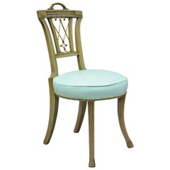 Carved Mahogany French Regency Style Chairs with Brass Handle & Aqua Vinyl 'A'