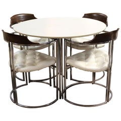 Mid-Century Modern Daystrom Chrome Wood Laminate Dinette Table & 4 Chairs 1970s