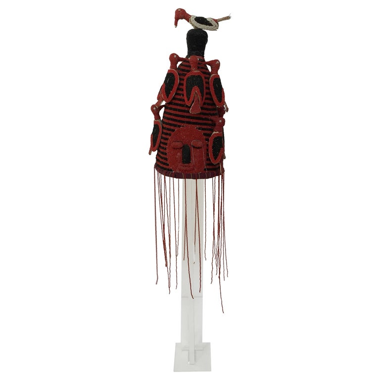 Yoruba Nigeria African Red Royal Beaded Headdress Crown on Lucite Stand
