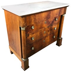 French Empire Style Small Size Chest of Drawers with Carrare Marble Top