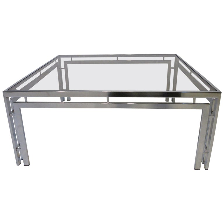 Chrome and Smoked Glass Coffee Table after Milo Baughman