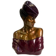 "Original Patrick Nagel ""Carol"" Bronze Bust Sculpture from, 1984"