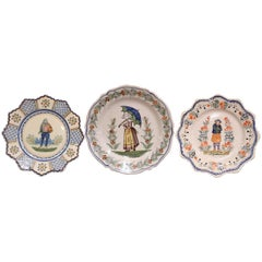 Three French Antique Hand-Painted Faience Plates from Henriot Quimper