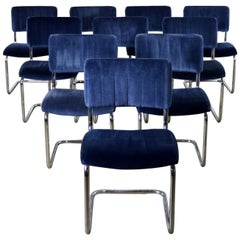 Ten Cantilevered Chrome and Blue Velvet Dining Chairs after Marcel Breuer Cesca