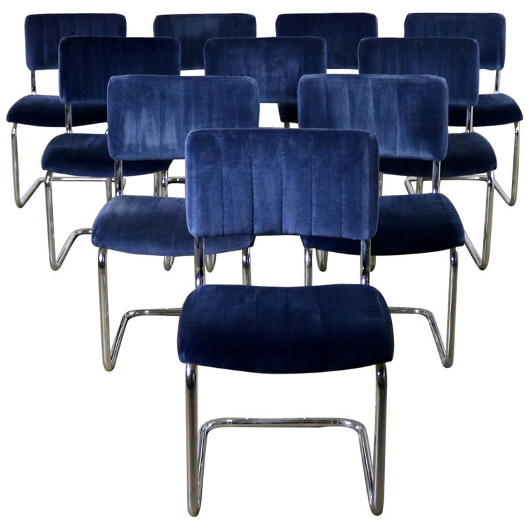 Ten Cantilevered Chrome and Blue Velvet Dining Chairs after Marcel Breuer Cesca For Sale