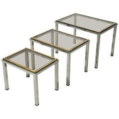 Set of French Stacking or Nesting Tables of Chrome and Brass