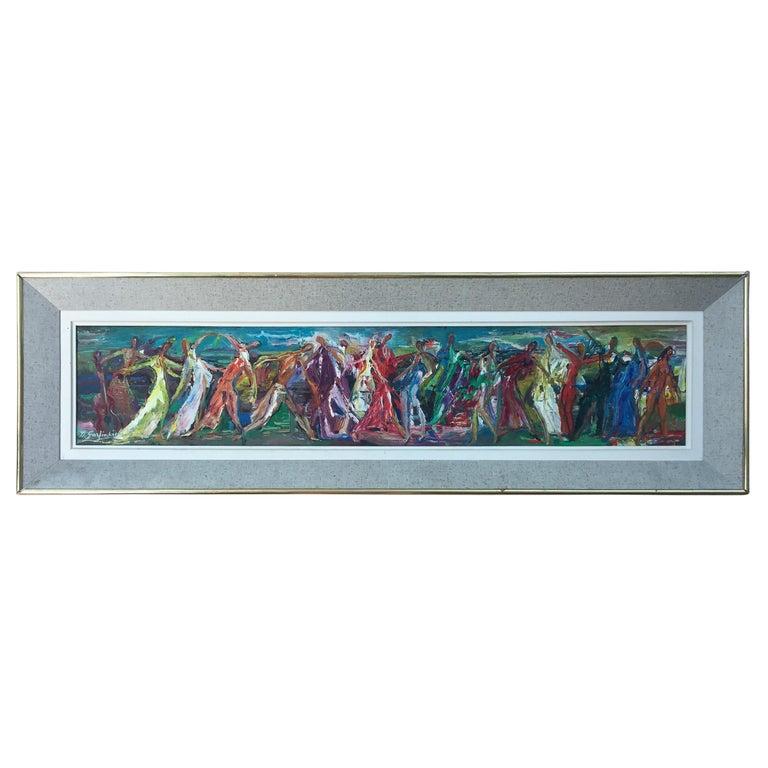 Mid-Century Modern Oil Painting David Garfinkiel Framed Abstract