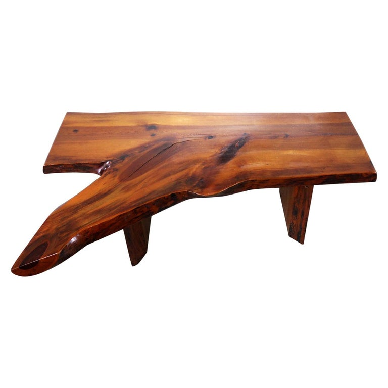 Live Edge Solid Slab Coffee Table Or Bench In The Style Of George Nakashima For
