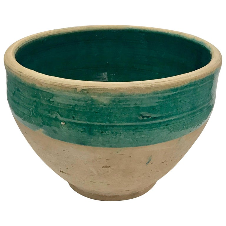 Handmade Blue-Green Rustic Farmhouse Glazed Terracotta Pot /Planter /Large Bowl