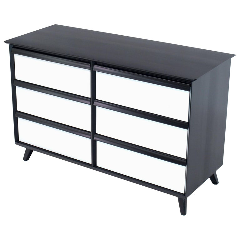 Solid Birch Two-Tone Black White Lacquer Six-Drawer Dresser Baumritter