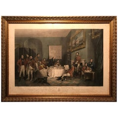 """The Melton Breakfast"" Fox Hunt Antique Folio Engraving in Guilded Frame"