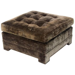 Square Deep Bronze Velvet Upholstery Tufted Upholstery Ottoman Footstool