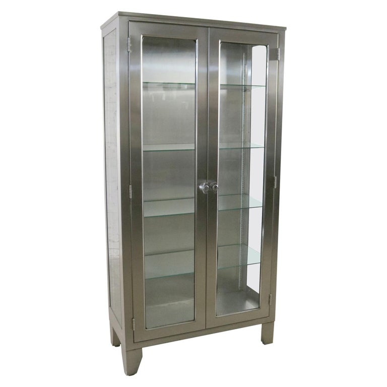 Stainless steel industrial medical cabinet, 1950s, offered by Warehouse 414