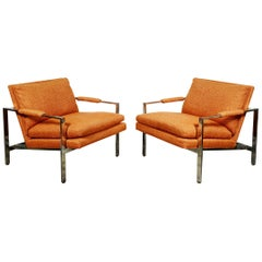 Pair of Milo Baughman Flat Chrome Bar Lounge Chairs
