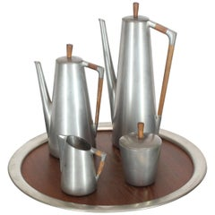 Five Pieces Mid-Century Modern Tea Coffee Set by Royal Holland Pewter Teak