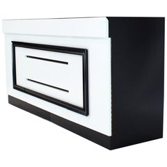 Two-Tone Black and White Lacquer 10 Drawers Dresser Cabinet