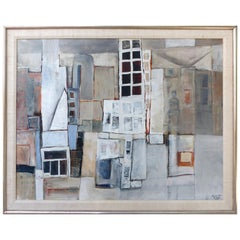 1972 Cubist Abstract Cityscape Oil Painting on Canvas by Linda Mia Turkel