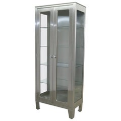 Vintage Stainless Steel Industrial Display Apothecary Medical Cabinet with Glass