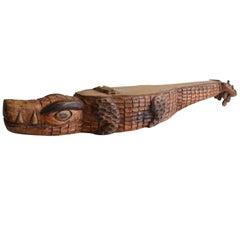 Brazilian Hand-Carved Wood Instrument Viola de Cocho Alligator