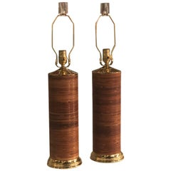 Vintage Pair of Table Lamps Pencil Wrapped and Brass Completely Restored