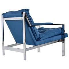 Cy Mann Mid-Century Modern Milo Baughman Style Flat Bar Lounge Chair