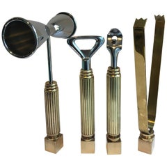 Set of Four Brass Bar Tools and Accessories