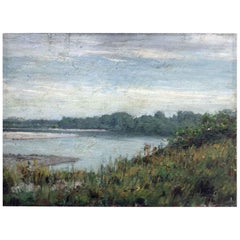 Mid-20th Century Italian  River Landscape Painting by Comolli Luigi 1946