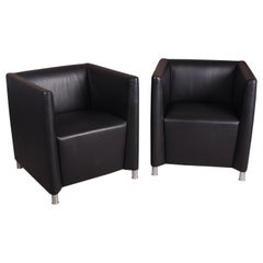 Pair of Walter Knoll Black Leather Tub Lounge Chairs