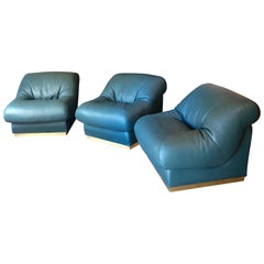 Three Late 20th Century Italian Green Leather Armchairs with Brass Basement