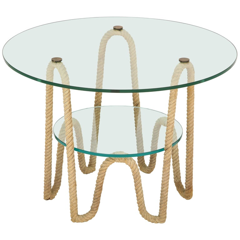 Rare Rope and Thick Glass Trays Coffee Table by Audoux Minnet, France 1960s