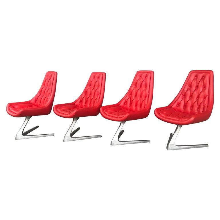 Set of 4 Chromcraft Sculpta Unicorn Chairs, Star Trek Chair Rare, Original Red
