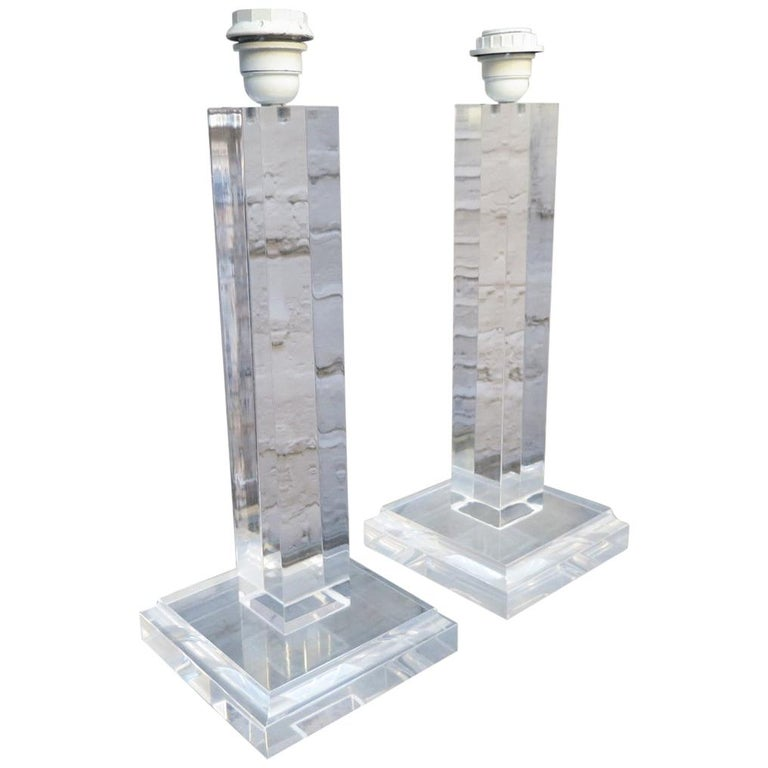 Pair of Lucite Column Table Lamps