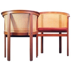 Rud Thygesen Side / Dining Chairs King Series Botium 1970s Cane Mahogany Leather