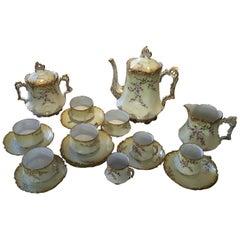 Porcelain de Limoges, France, Tea and Coffee Set Service, circa 1920