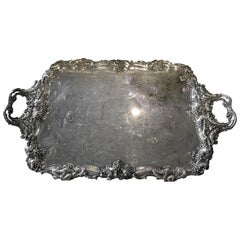 "Large English Silver Metal Tray of Exceptional Size, circa 1880 ""Faveat Fortuna"""