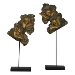 Couple of 18th Century French Baroque Giltwood Ornaments with Angels
