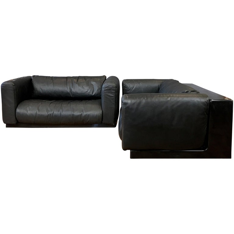 Cini Boeri for Knoll Gradual Black Leather Sofas, a Pair