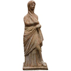 Standing Woman Statuette, Greece, Tanagra, IV–III Century BC