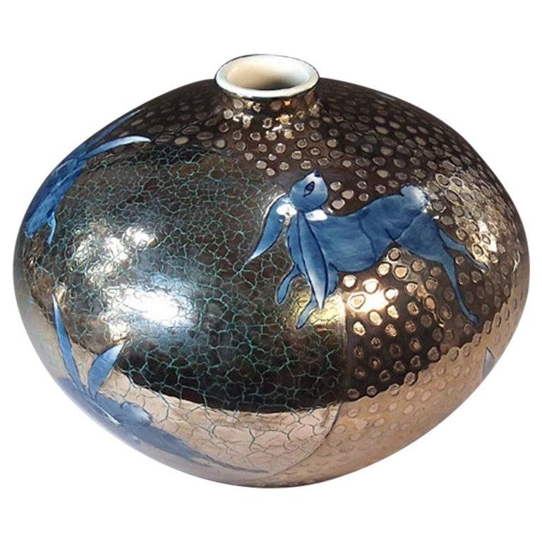 Japanese Blue Platinum-Gilded Imari Porcelain Vase by Contemporary Master Artist