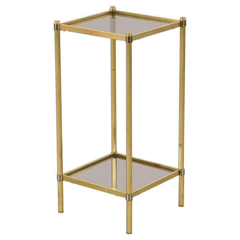 1970s Brass and Two-Tiered Smoked Glass Side Table