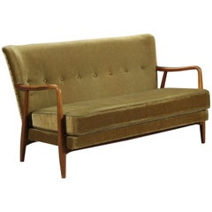 Scandinavian 1940s Velvet Sofa