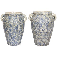 Pair of Tall Italian Transferware Vases with Handles from Umbria