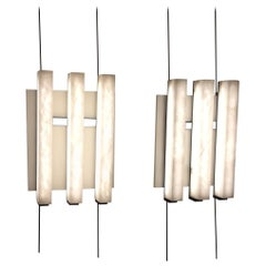 Pair of Alabaster and Metal 3 lights Sconces