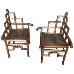 19th French Pair of Bamboo Corner Chairs