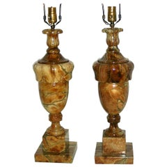 Amber Colored Alabaster Table Lamps