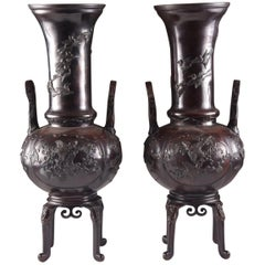 Elegant Bronze Japanese Vases