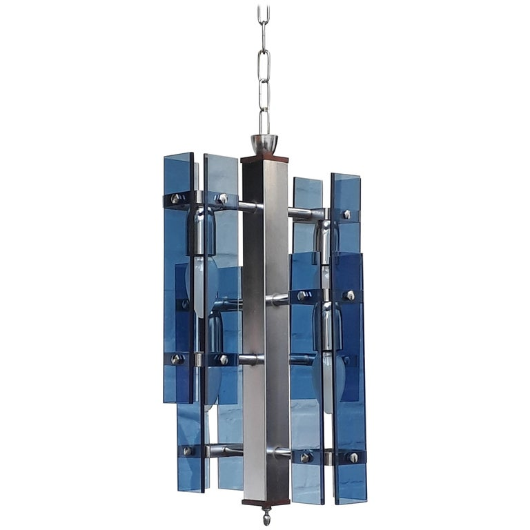 Midcentury Italian Blue Cristal Art Murano Glass & Chrome Pendant Lamp