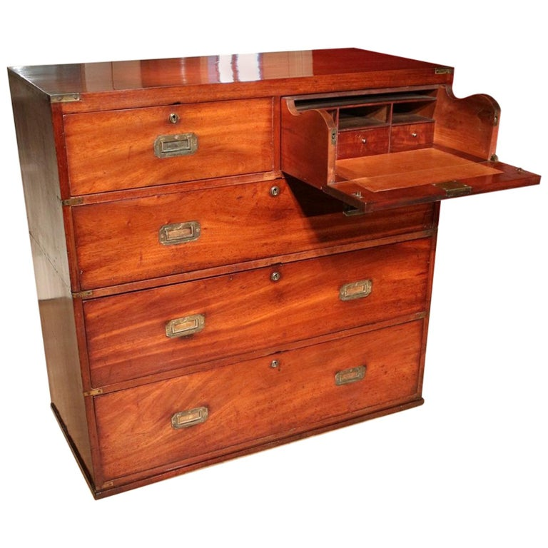 Victorian Mahogany and Brass Military Officer's Campaign Chest