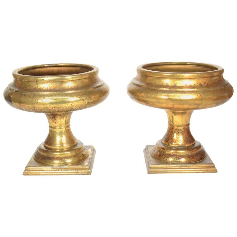 Pair of Large Brass Jardinière